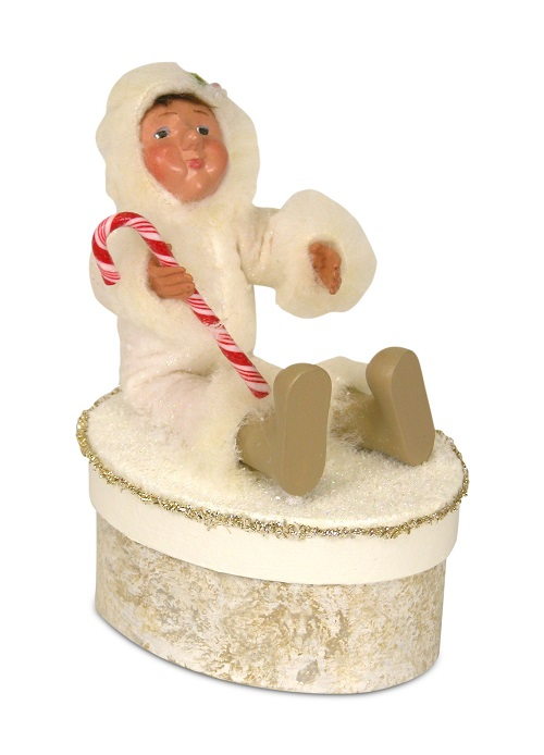 Byers' Choice #1831 Yule Box With Toddler Holding Candy Cane