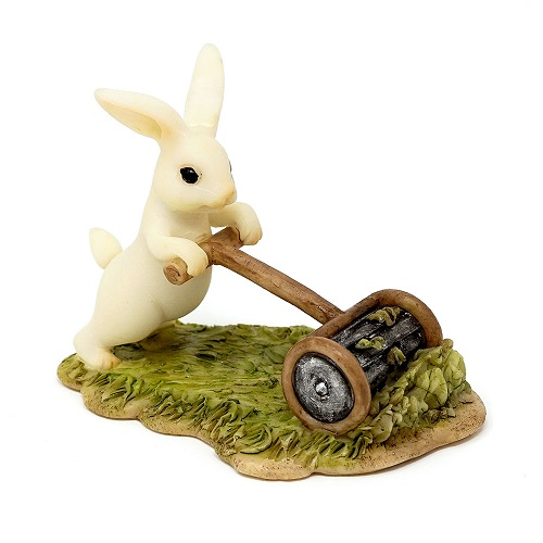 Topland #4764 Bunny Gardener Mowing the Lawn