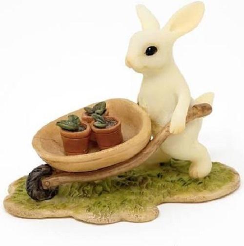 Topland #4765 Bunny Gardener Pushing Wheelbarrow