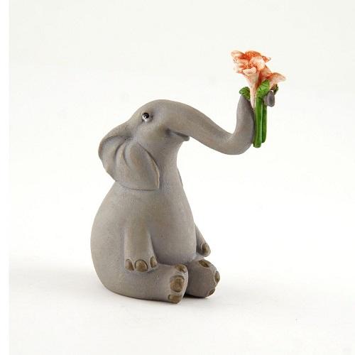Topland #4627 Elephant Holding up Flowers