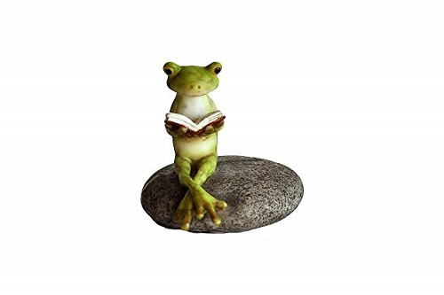 Topland #4220 Frog Reading on Stone
