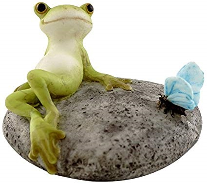 Topland #4344 Frog Resting on Stone with Butterfly