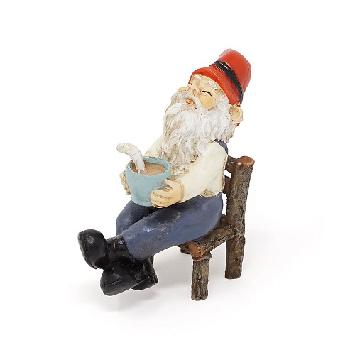 Topland #4786 Garden Gnome with Coffee