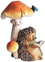 HedgehogReadingBookUnderMushroomLittle