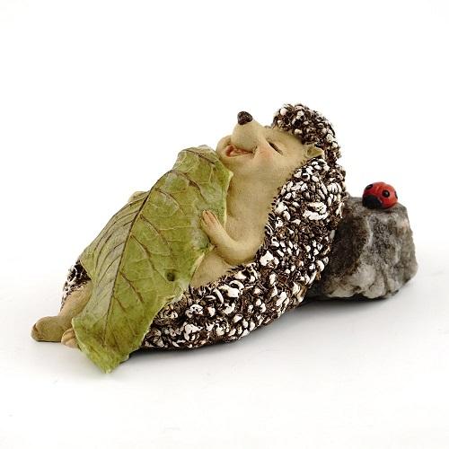 Topland #4408 Hedgehog Sleeping with Leaf Blanket