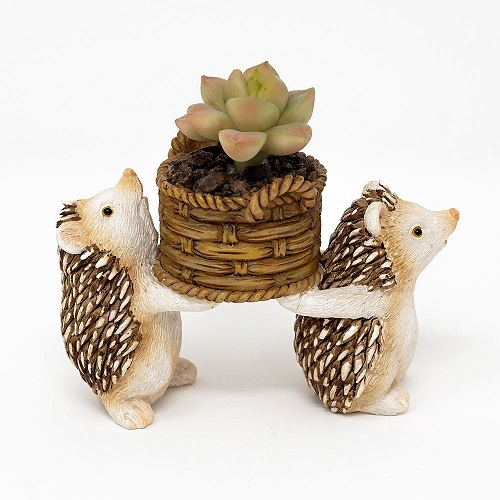 HedgehogsCarryingLifeLikePottedSucculentPlantLarge