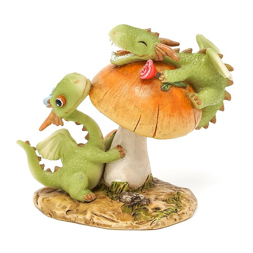 Topland #4799 Mini Dragon Scaley and Girl Dragon Emberz Frolicking on Mushroom