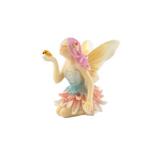 Topland #4606 Mini Flower Fairy with Bird