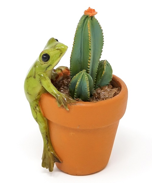 Topland #4757 Mini Frog with Cactus Pot