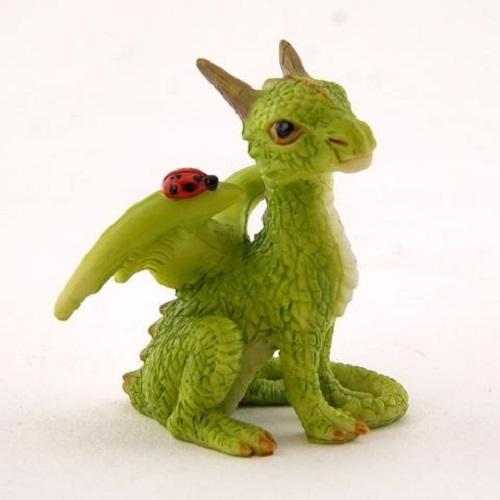 Topland #4677 Mini Green Dragon with Ladybug