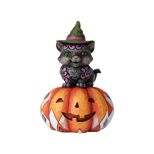 Jim Shore #6001548 Pint Sized Black Cat on Pumpkin