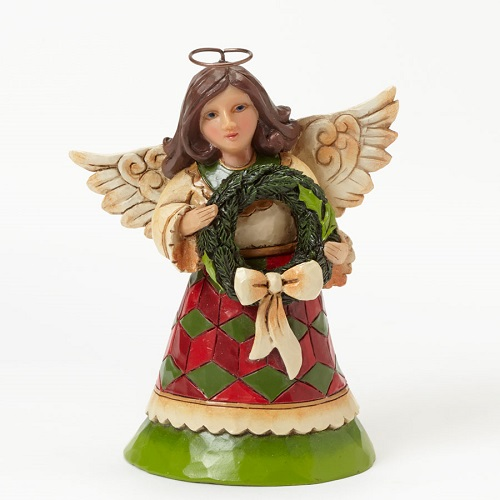 Jim Shore #4041102 Mini Christmas Angel With Wreath