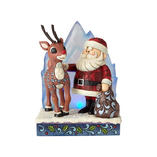 Jim Shore #6001589 Lighted Rudolph and Santa With Iceberg