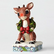 LightedRudolphWithWreathLittle