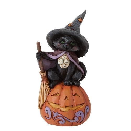 Jim Shore #6009515 Mini Black Cat on Pumpkin