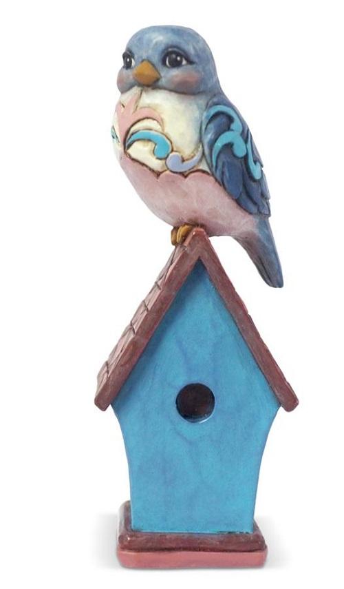 Jim Shore #6003981 Mini Bluebird on Birdhouse