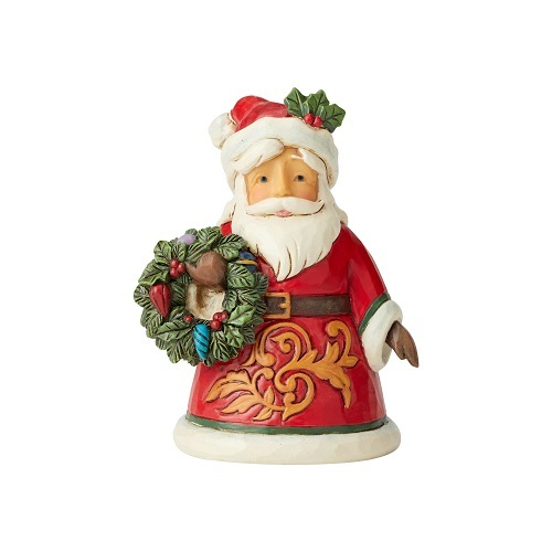 Jim Shore #6004298 Mini Santa Holding Wreath