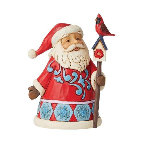 Jim Shore #6009010 Mini Santa with Cardinal & Birdhouse