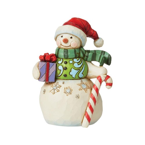 Jim Shore #6009009 Mini Snowman with Gift & Candy Cane