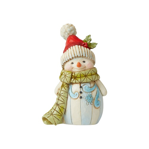 Jim Shore #6006660 Mini Snowman With Green Scarf