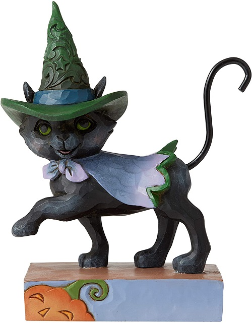 Jim Shore #6006705 Mini Walking Black Cat With Witches Hat