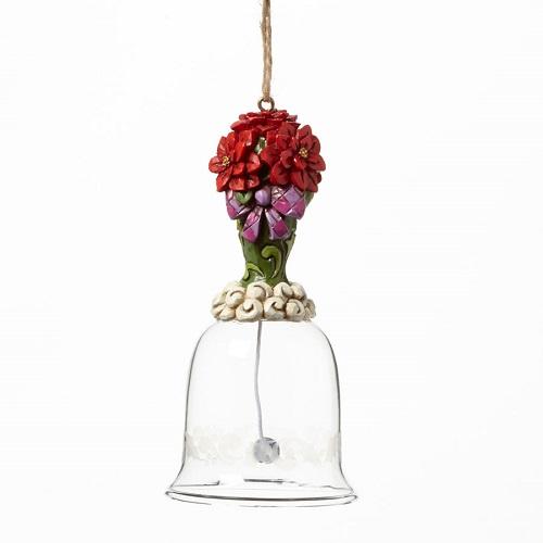Jim Shore #4041129 Poinsetta Glass Bell