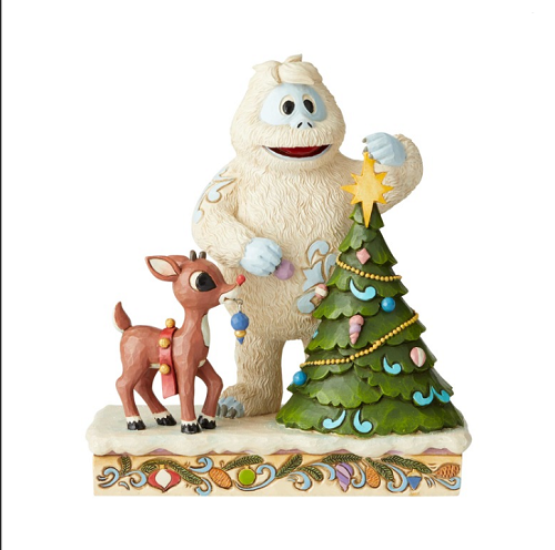 Jim Shore #6004145 Rudolph With Bumble Placing Star on Tree