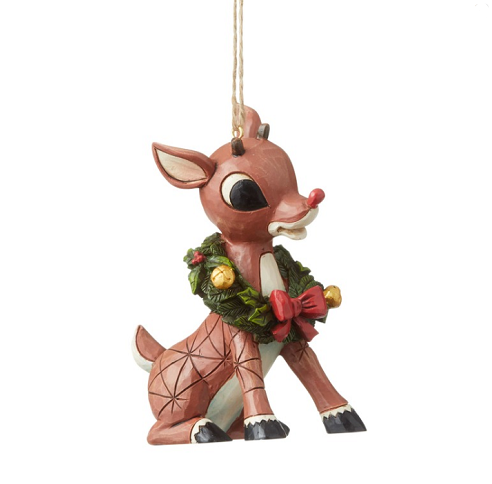 Jim Shore #6004151 Rudolph With Wreath Around Neck Ornament