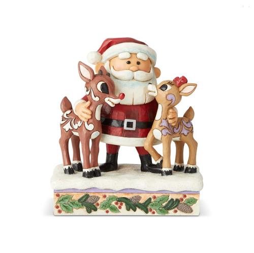 Jim Shore #6004146 Santa Hugging Rudolph and Clarice