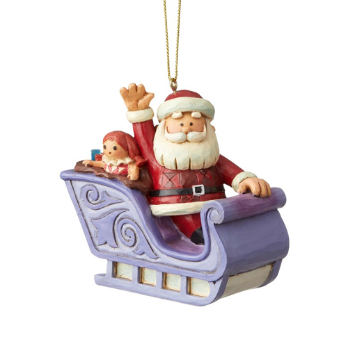 Jim Shore #6004149 Santa In Sleigh Ornament