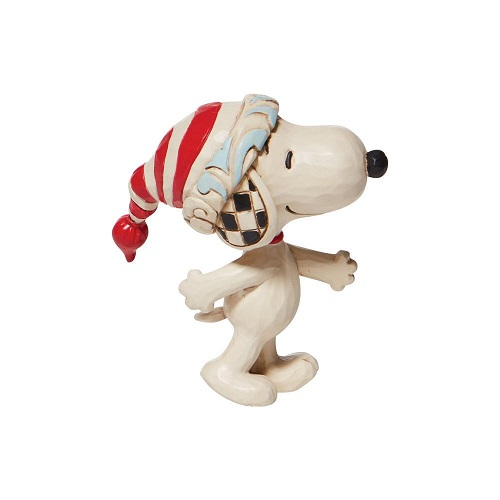 Jim Shore #6008960 Mini Snoopy Wearing Red and White Stocking Cap