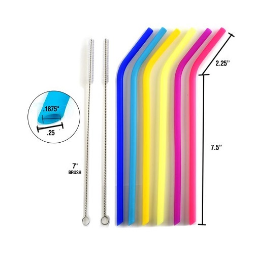 Norpro #471 6 Reusable Slim Silicone Straws With 2 Cleaning Brushes