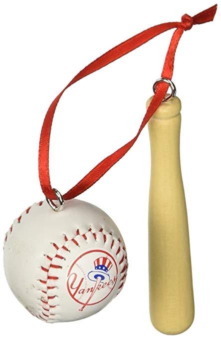 Red Sox #MB0012YNK Yankees Baseball & Bat Ornament