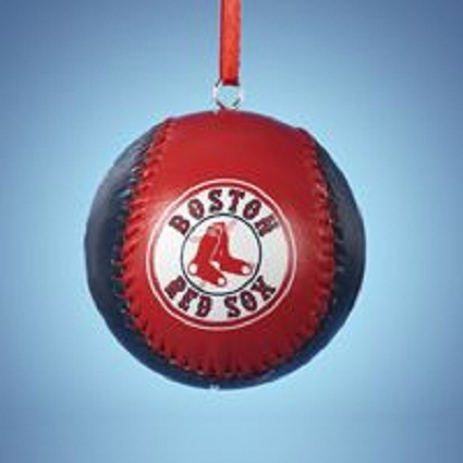 Red Sox #MB9121RSX Leather Baseball Ornament