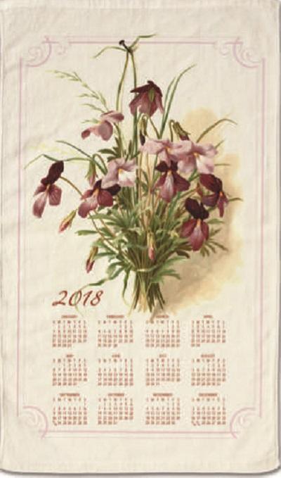 """2018 Stevens Linen Calendar Towel (064) """"Vintage Floral"""""""
