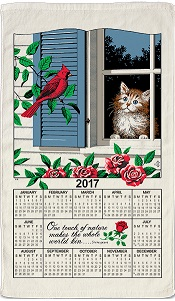 2017WindowKittyCalendarTowelLittle