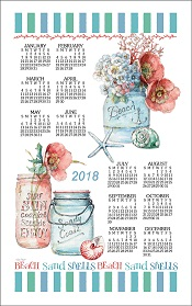 2018BeachHouseFloralCalendarTowelLittle