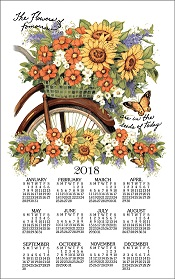 2018BicycleFloralCalendarTowelLittle