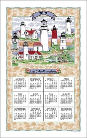 2018CapeCodLighthouseCollageCalendarTowelLittle