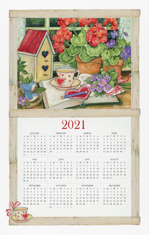 2021 NEW Linen Like Calendar Towel (15278)