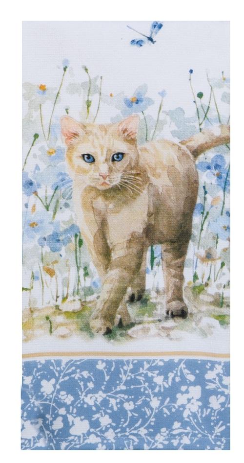Kay Dee (R6978) Bohemian Blue Cat Dual Purpose Terry Towel