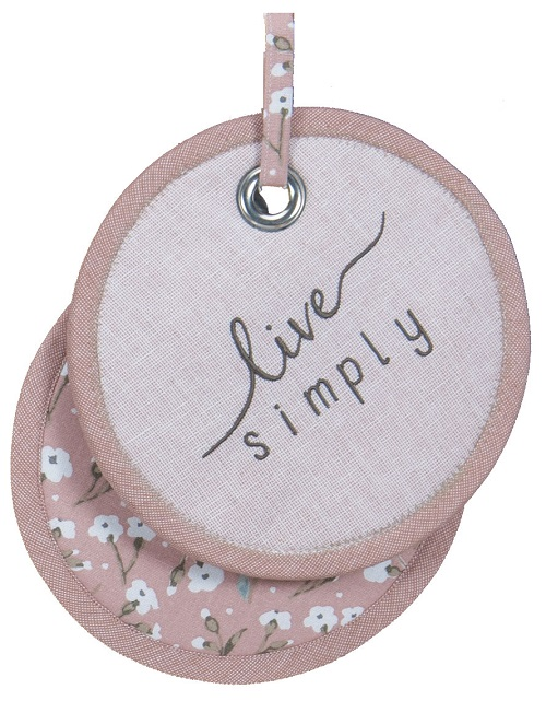 Kay Dee (R4102) Handmade Live Simply Blush Embroidered Potholder