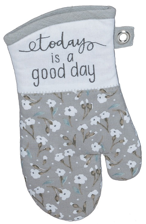 Kay Dee (R4115) Handmade Good Day Gray Embroidered Oven Mitt