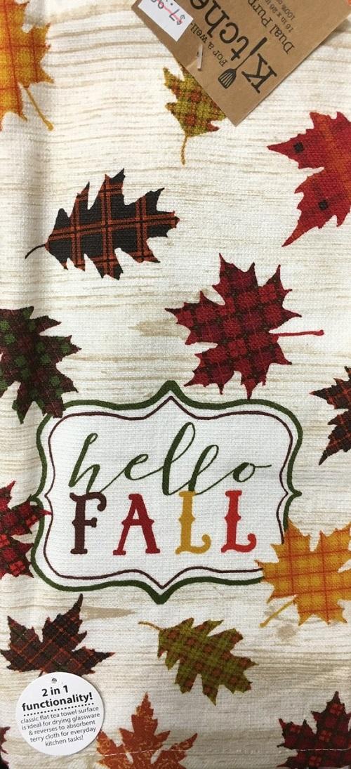 Kay Dee (H3460) Hello Fall Leaves Dual Purpose Terry Towel