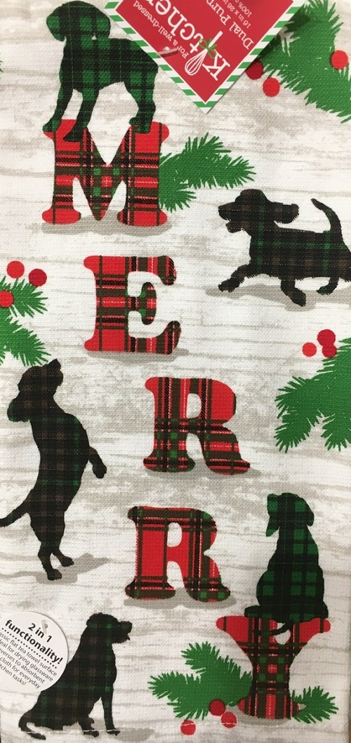 Kay Dee (H3635) Holiday Hounds Merry Dual Purpose Terry Towel