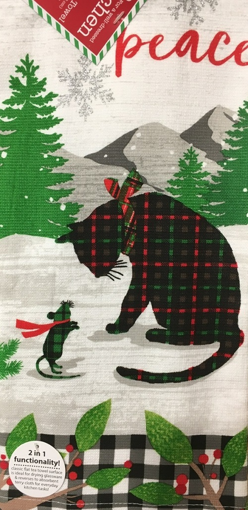 Kay Dee (H3631) Holiday Kitties Peace Dual Purpose Terry Towel