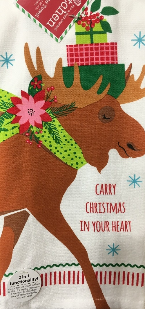 Kay Dee (H3397) Holiday Moose Dual Purpose Terry Towel