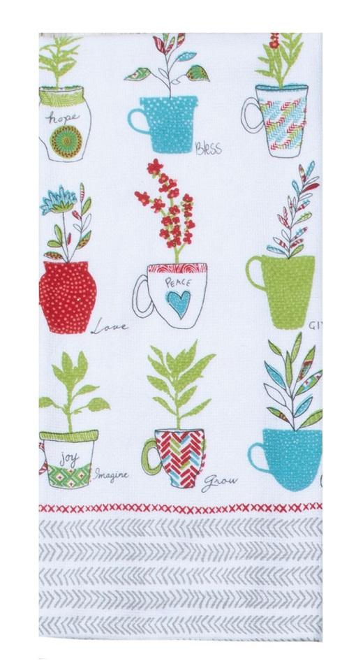 Kay Dee (R6730) House Rules Herbal Cups Dual Purpose Terry Towel