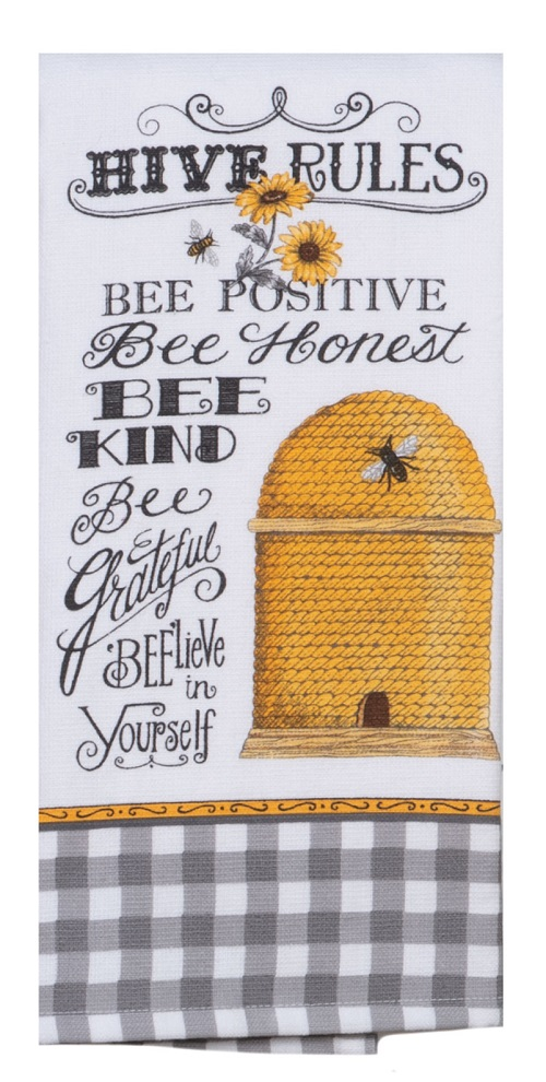 Kay Dee (R5812) Just Bees Hive Rules Dual Purpose Terry Towel