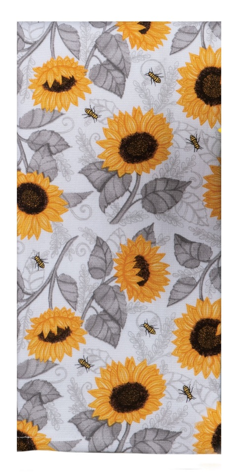 Kay Dee (R5813) Just Bees Sunflower Toss Dual Purpose Terry Towel